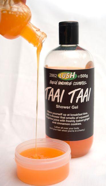 Taai Taai Shower Gel: Ginger Root Infusion, Fresh Tangerine Juice, Sweet Orange Oil, Cinnamon Leaf Oil, Gardenia Extract