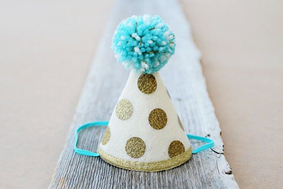1st Birthday Gold and Aqua MINI Party Hat - Customize Color - Boys Girls First Birthday Polkadot Party Hat - Dog Birthday Hat