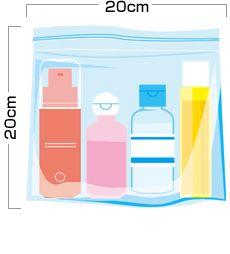 持ち込みにご利用できる透明プラスチック製袋のサイズの目安は、縦20㎝以下×横20㎝以下になります。
