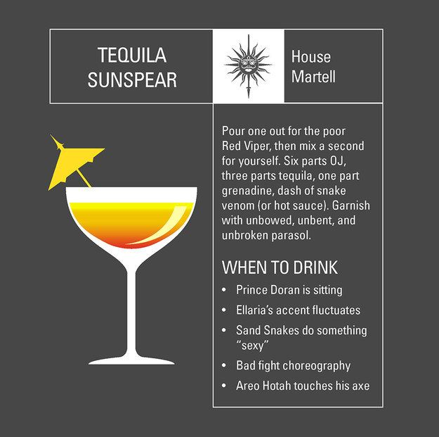Here are six Game of Thrones-themed cocktails for a drinking game that fans would dare to play.You can choose your House allegiance and drink as instructed, but beware! A lot of these conditions seem as deadly as George R.R. Martin's Song of Ice and Fire books. And the names of the drinks sound yummy, except for the Lannisters' Incest on the Beach --That just sounds so wrong. So which Game of Thrones cocktail would you choose? Source: Buzzfeed For more Game of Thrones fun