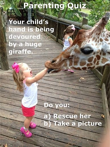 What to do if your child is being devoured by a giraffe.  LOL