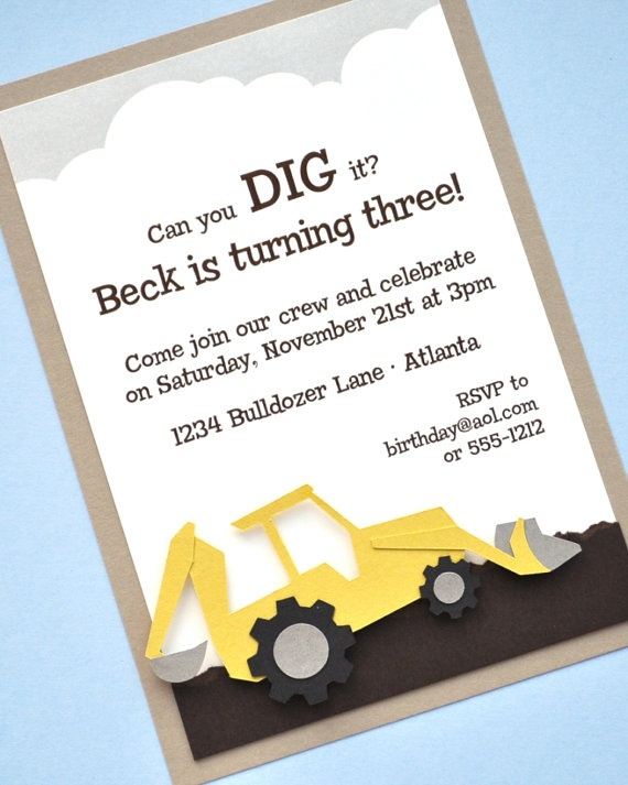 Construction Birthday Party Invitation by peasandthankyous on Etsy, $24.00