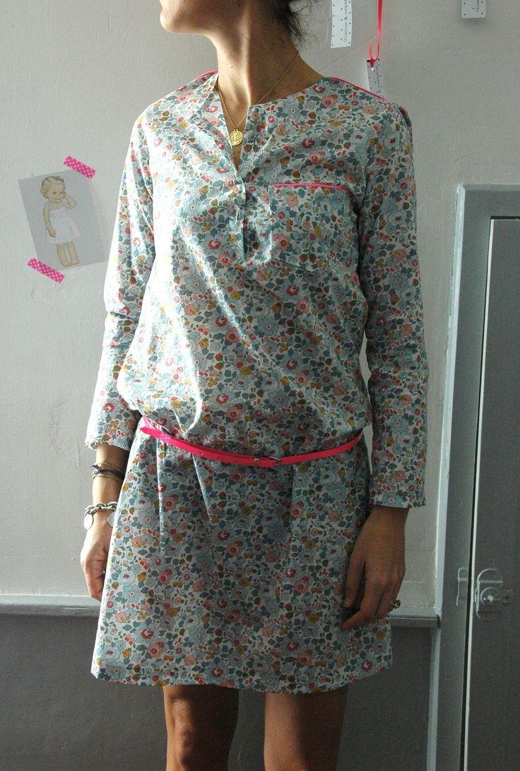 Patron Henriette - Citronille -   Betsy porcelaine et passepoil rose fluo Cousette. Créa Célestine et cie
