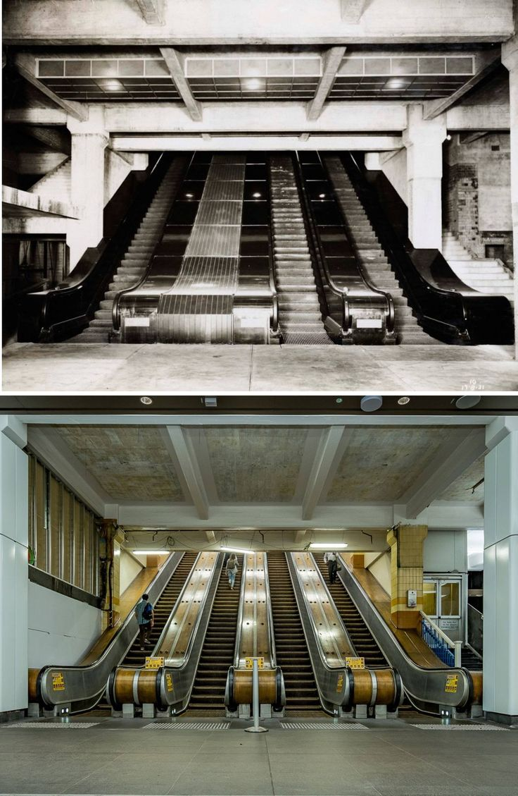 Wynyard Railway Station timber escalators 1931 > 2016. [State Records NSW > Greg Davis. By Greg Davis]
