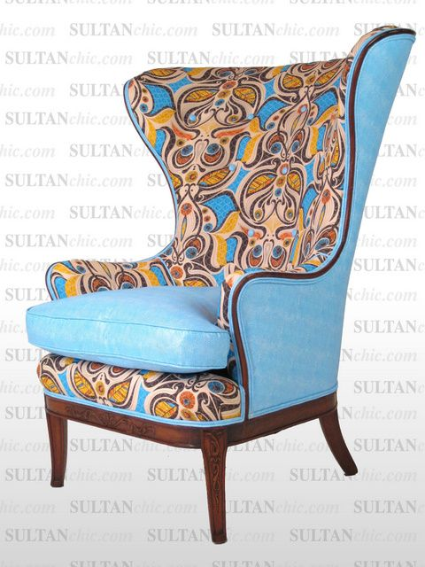 All upholstered furniture pieces featured here are one of a kind creations of artisan designer Albert Leon Sultan founder of WWW.SULTANCHIC.COM Please inquire if you'd like to purchase any piece featured here or to hire Albert to design your home. #midcentury #retro #vintage #upholstery #wingchair #upcycle #couture #furniture #art #design #interiordesign #home #love #flower #pastel #sultanchic #chic #fashion #snakeskin #babyblue