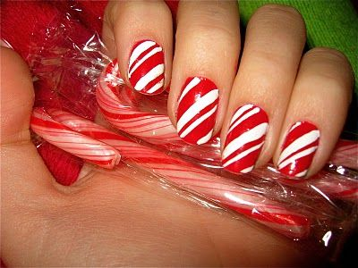 I like this candy cane nail art!