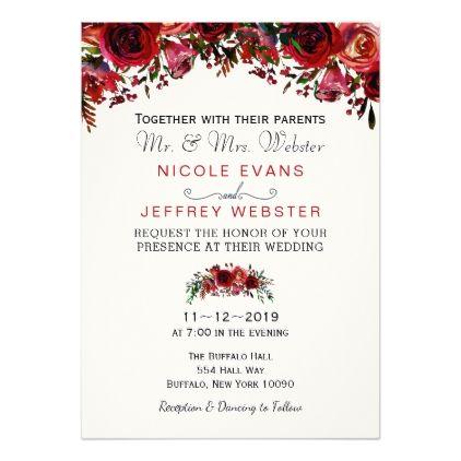 Burgundy Wedding Invitations Modern Burgundy Wedding Invitations Floral Burgundy  Wedding Invitations Elegant Burgundy Wedding Invitations Red