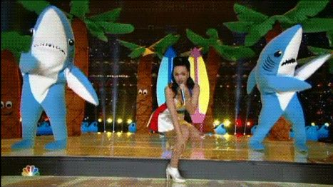 Katy Perry and her sharks perform during the Super Bowl XLIX Halftime Show.