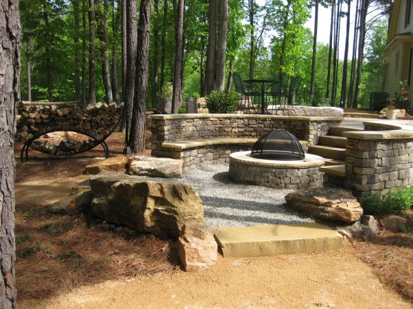 Sunken Backyard Fire Pit : patio and sunken outdoor fire pit with big sitting rocks, View of fire