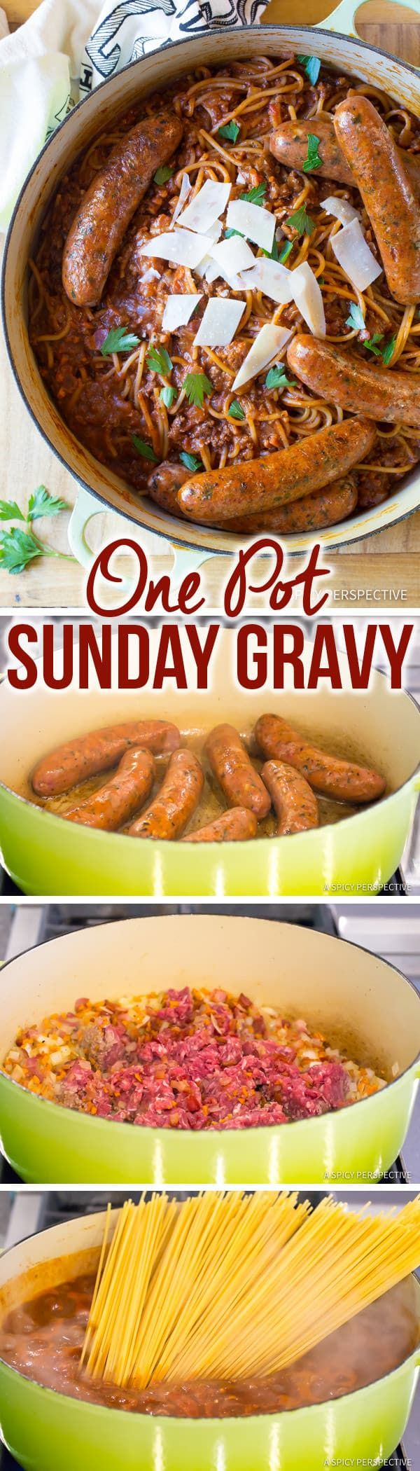 Perfect One Pot Sunday Gravy (In Less Than An Hour!) | ASpicyPerspective.com Served with #NewYorkBakeryCo Bake&Break Garlic Bread! #BakedProud
