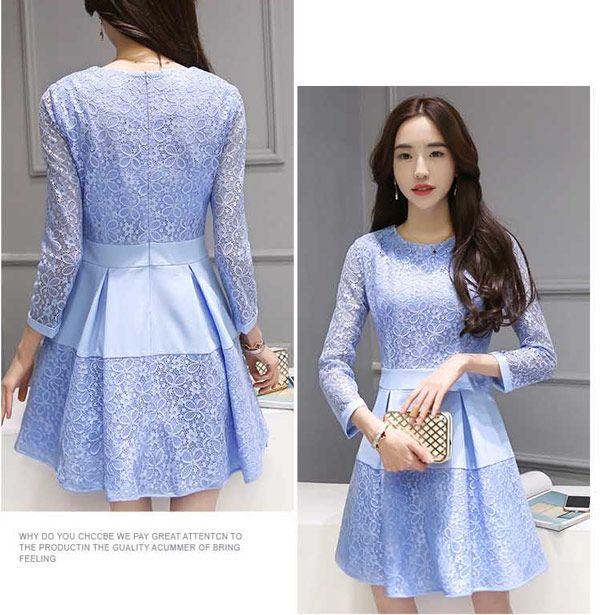 Dress Pendek Kombinasi Brokat Cantik Warna Biru A2884 Cth Bj