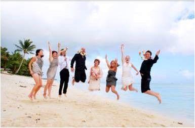 Happy #WeddingParty #Jumpshot on the #Beach at #TevakaroaVillas #CookIslands