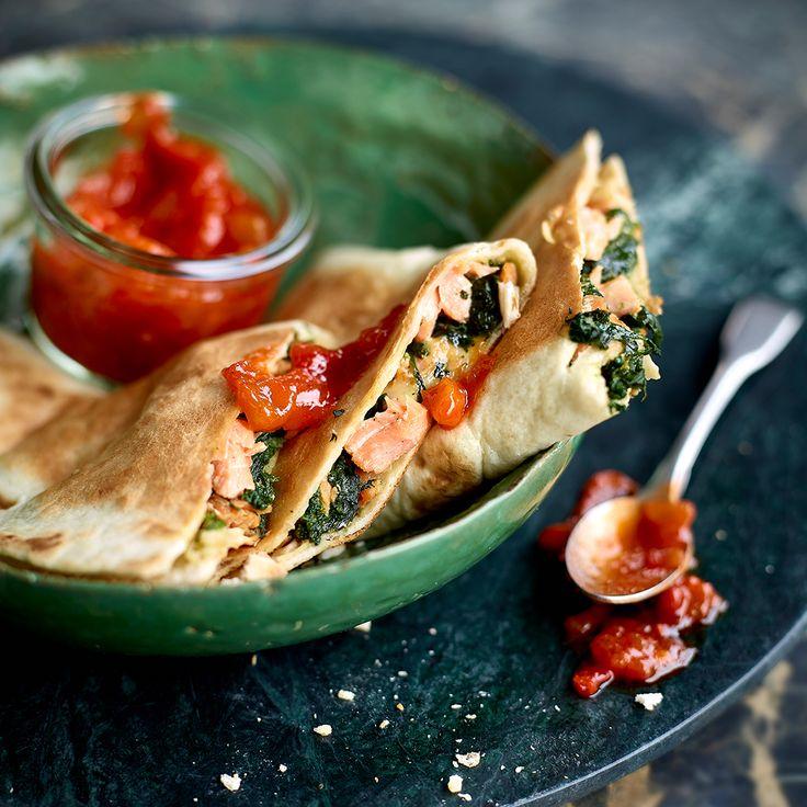 Quesadilla's met riddervis, spinazie en mozzarella