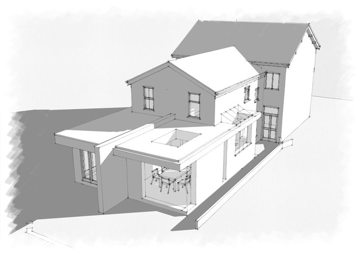 As Proposed angled view of single storey extension to property with roof glazing