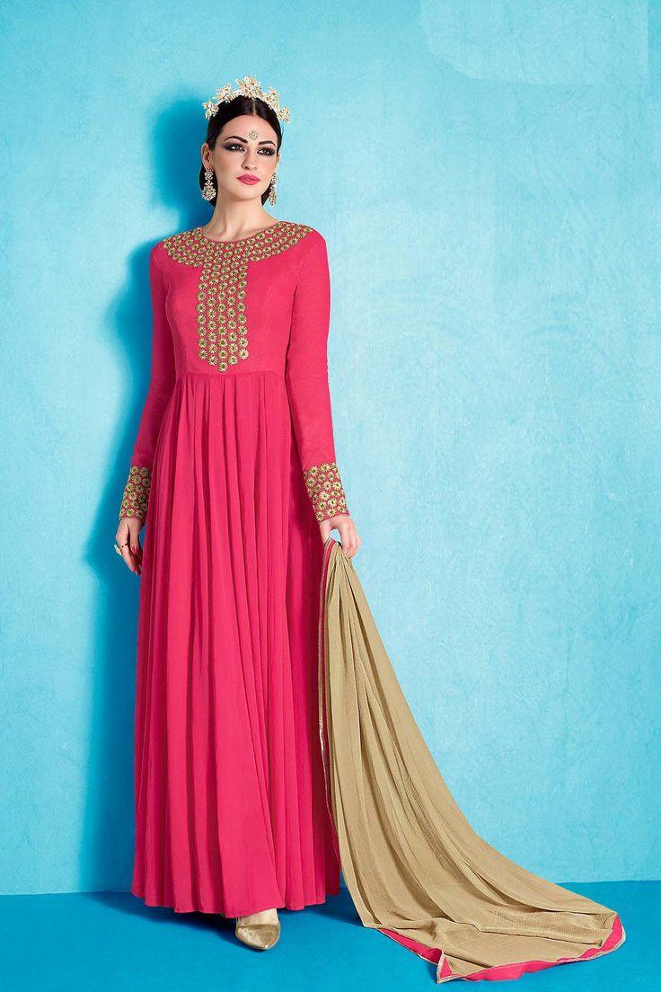 Dark Pink Floor Touch Salwar Suit  Visit:http://www.glamzon.com/shop/salwar-kameez/dark-pink-floor-touch-salwar-suit/  #nakkashi #straightsalwarkameez #nairra