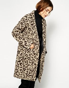 ASOS Coat in Hairy Animal Print
