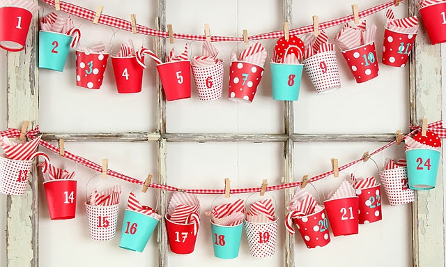 Awesome paper cup Advent Calendar by Craftberry Bush.