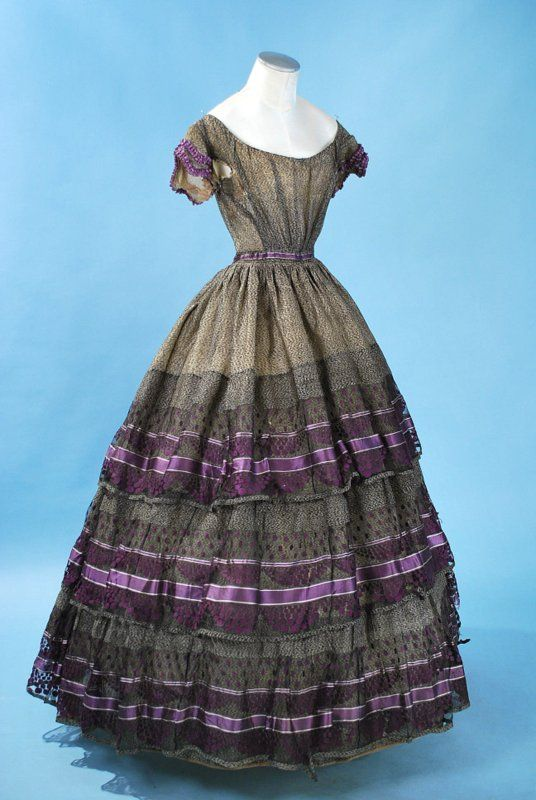 Black and Purple with polka dots 1860's
