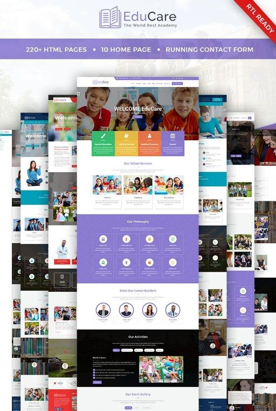 Educare Education With Rtl Ready Website Template New Templates Pinterest Webpage Layout And
