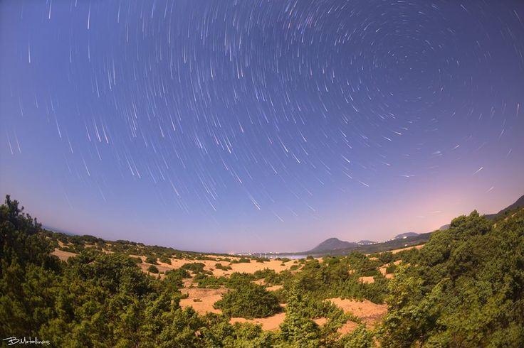 Cedar Forest under the Stars, Issos beach, Corfu. Photo by: Bill Metallinos. #GreenCorfu - greencorfu.com - https://pinterest.com/greencorfu/