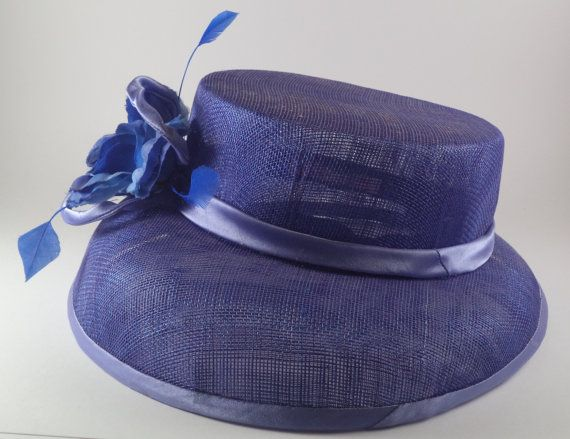 Blue sinamay hat with blue satin binding and by MillinerybyMelissa