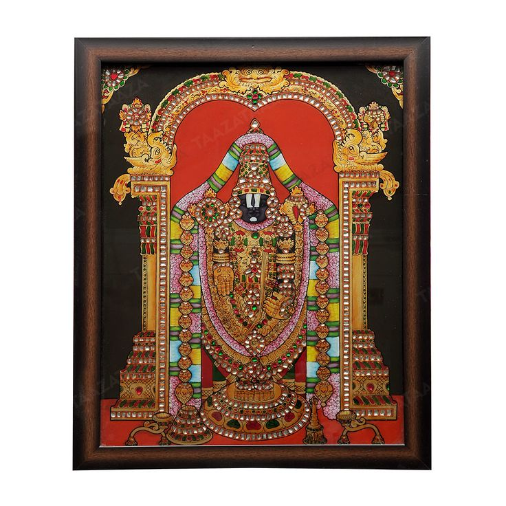Venkateswara | Glass Painting |  Material: Glass Other Material: Glass colors, Gold powder Dimensions( LxW): 17X21 Inches Package Contents: 1 Venkateswara Painting