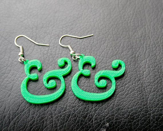 3D Printed Ampersand Earrings by TheCoconutRobot on Etsy
