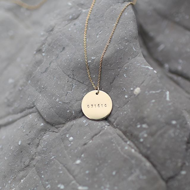 "Gold 3/4"" Date Disc Necklace  Handmade Jewelry 