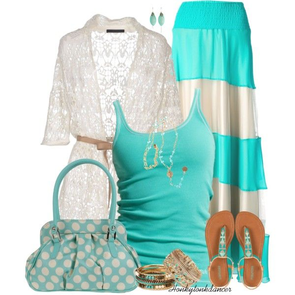 Turquoise Stripe Maxi by honkytonkdancer on Polyvore featuring polyvore, fashion, style, Les Copains, Marc O'Polo, Le Ragazze Di St. Barth, Fiorangelo, Dorothy Perkins, Forever 21 and Alicia Marilyn Designs