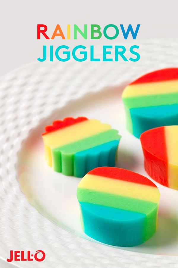 Just over the rainbow there are delicious Rainbow JIGGLERS. To turn this recipe into a rainbow treat, just mix a flavor of JELL-O Gelatin with boiling water and vanilla low-fat yogurt, then refrigerate. Repeat with the same pan to add other layers of delicious JELL-O Gelatins. Any 4 flavors will do (like Orange, Strawberry, Berry Blue or Lime)! Refrigerate after adding each layer, cut into shapes and enjoy.