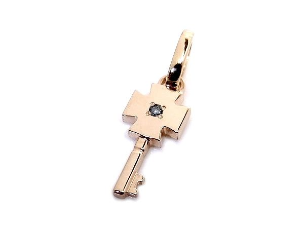 AMBRACE blue diamond K18 pink gold cross key pendant ピンクゴールド ペンダント チャーム ネックレス クロス カギ ブルーダイヤ