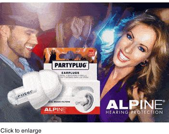 Alpine PartyPlug Music and Concert Ear Plugs (NRR 11)
