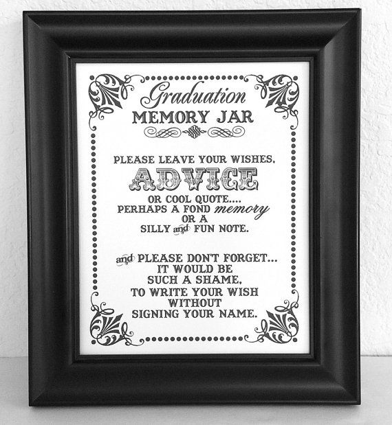 Birthday Party Game Ideas: Graduation Memory Jar- Wishes- Guest Book Sign- Graduation