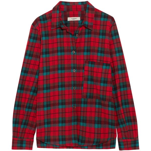 Étoile Isabel Marant Cazora plaid brushed-cotton shirt ($305) ❤ liked on Polyvore featuring tops, red, plaid shirts, plaid woven shirt, red shirt, red checkered shirt and plaid top