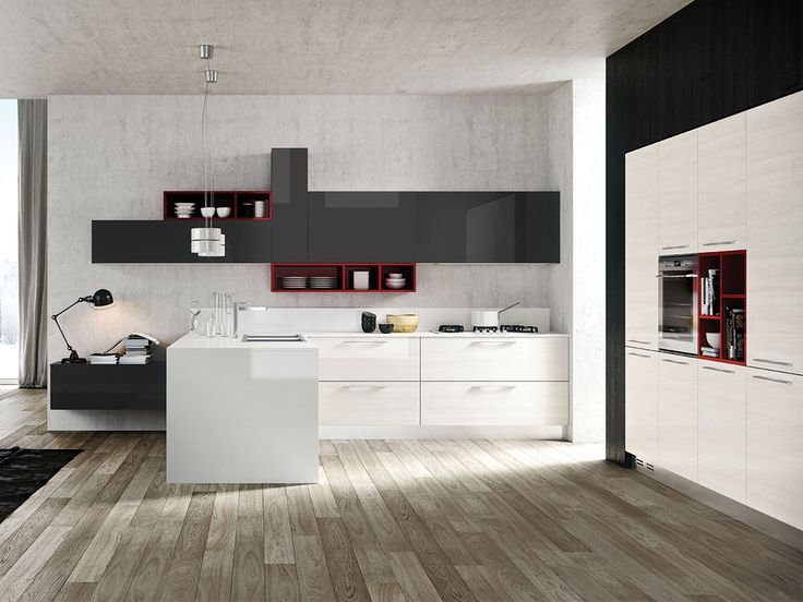 Cucina olimpia una cucina moderna dal design contemporaneo e ricercato il larice bianco lucido - Cucina moderna design ...