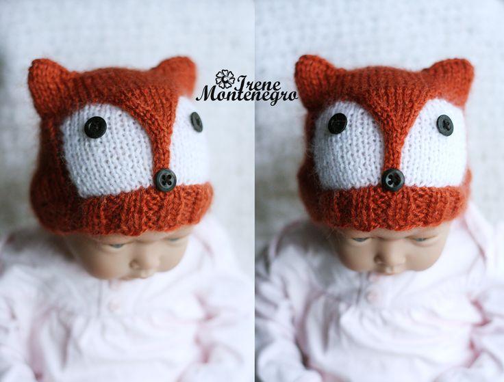 knitted cap fox for kids , шапочка лиса , вязание спицами , детские шапки