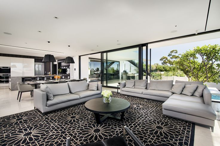 Stunning family room of a recently completed home.