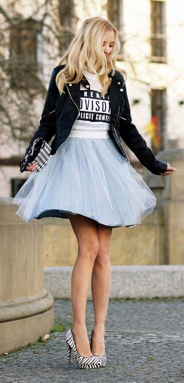 Combination of Jacket and Short Tulle skirt always works!! Tulle Skirt Outfits