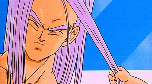 Baby Trunks pulling Future Trunks' hair. Man Baby Trunks is too cute and Mirai Trunks is hot :3