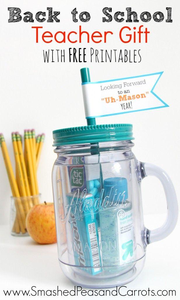 Really cute mason jar tumbler Teacher Gift with FREE printable flags!