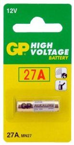 GP Battery 12V 2 Pcs High Voltage Alkaline 27A by GP. $3.33. - Brand new GP 27A Alkaline Battery- Quantity: 2 Total Batteries- Nominal voltage of 12 Volts. 20 mAh Nominal capacity.- GP batteries are formulated to provide an economical and reliable power source for low to medium drain applications such as; cameras, remote controls, flashlights, and other devices.- These are not off-brand Asian batteries. These are name brand, high quality batteries made by one of the most rec...