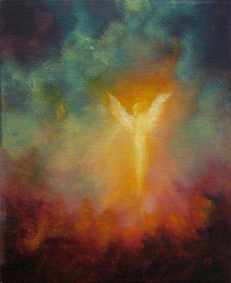 Radiance Spiritual Angel Art, Original Oil Painting by Marina Petro