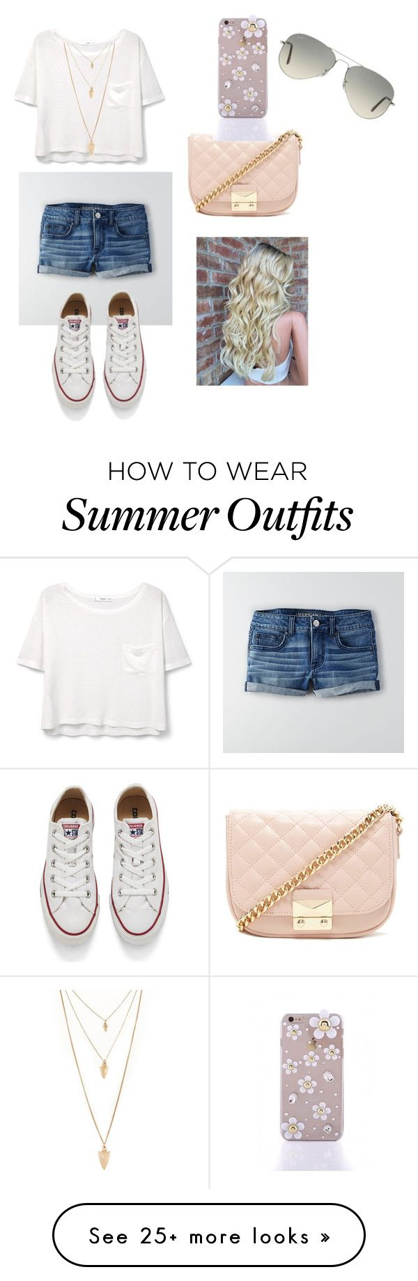 """""""Summer Outfit ☀️"""" by makenalindsay on Polyvore featuring American Eagle Outfitters, MANGO, Forever 21, Converse and Ray-Ban"""