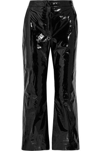 Off-White - Suede-appliquéd Cropped Patent-leather Pants - Black