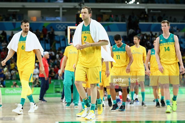 A sorry end to the quest for gold in Rio. Andrew Bogut #6, Joe Ingles #7 and Brock Motum #14 of Australia walk off the court with teammates after being defeated by Serbia in the Men's Semifinal match on Day 14 of the Rio 2016 Olympic Games at Carioca Arena 1 on August 19, 2016 in Rio de Janeiro, Brazil.