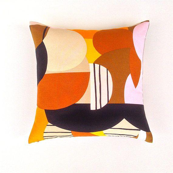 Sofa Cushion Cover. Shades of Brown. Graphic Marimekko Pillow