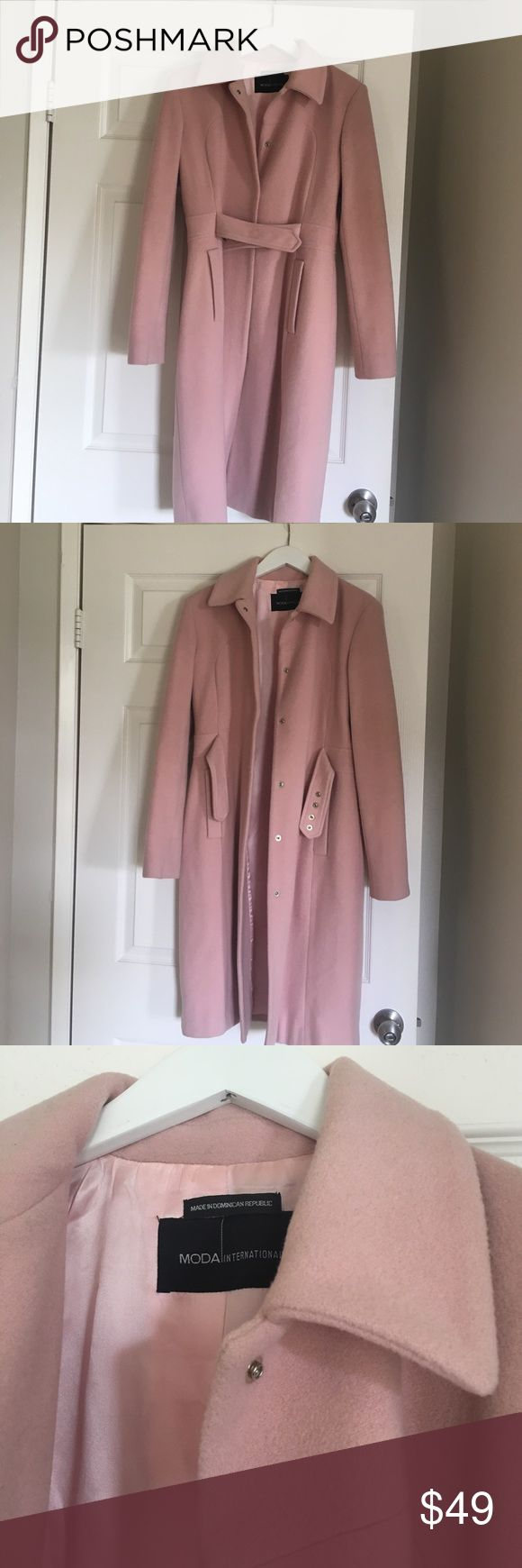 Light Pink Long Wool Coat Belted Trench Size 6 100% wool. Great for cold weather. Bought at Victorias Secret for trip to Europe. Used with some small stains - see photos. I live in Southern California mild climate so I never wear it anymore. Moda International Jackets & Coats