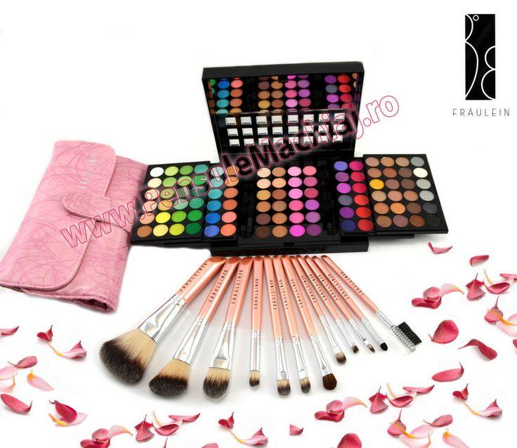 Trusa Farduri 96 culori Fraulein38 + Set 12 pensule machiaj Pink Premium Fraulein38
