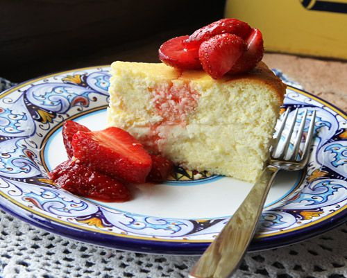 Lemon ricotta cheesecake.This is amazing! My friend made it for me  last night, except she soaked the strawberries in wine...