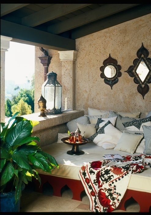 This Is A Great Idea If I Ever Have A Home With A Balcony Like This. A Moroccan Style Cozy Area To Enjoy! Love, Love, Love It!